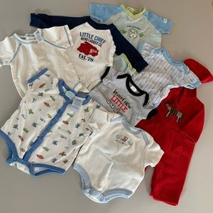 Lot of Baby Tees and rompers 0-3 mo. - 8 pieces